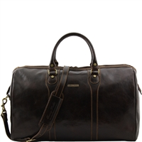 Tuscany Leather Oslo TL1044 Travel leather duffle bag - Weekender bag - Dark Brown