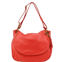 TL141110 Soft leather shoulder bag - Coral