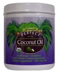PERFECT COCONUT OIL - The Purest Organic, Extra-Virgin, Unrefined,Cold-Pressed Coconut Oil, 16 ounce