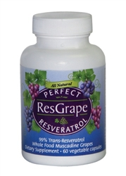 Perfect ResGrape Resveratrol and Organic Muscadine Grape 60 Vegetable Capsules