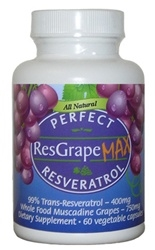 PERFECT RESGRAPE RESVERATROL MAX 99% Trans-Resveratrol & Whole Muscadine Grapes
