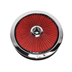 1967 - 1992 Air Cleaner Assembly, Open Element, Breathe Thru Top with Washable Filter, Chrome Ring