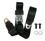 "1967 - 2002, 2010 - 2013 Seat Belt Replacement Lap 2 pt. Each, ""GM Mark of Excellence"" Button, Stainless Steel Buckle and Black Belt"