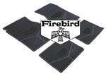 1967-1969 Custom Rubber Floor Mats Set, Firebird Block Letters w/ Bird Emblem