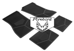 1970-1974 Custom Rubber Floor Mats Set, Firebird Block Letters w/ Bird Emblem