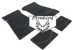 1975-1981 Custom Rubber Floor Mats Set, Firebird Block Letters w/ Bird Emblem