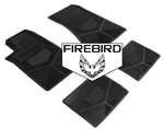1985-1992 Custom Rubber Floor Mats Set, Firebird Block Letters w/ Bird Emblem