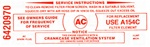 1967 Air Cleaner Service Instructions Decal Red - 6420970