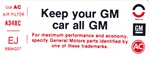 1975 Air Cleaner Side Service Instructions Decal - Keep Your GM