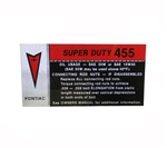 1973-1974 Valve Cover Decal - 455 SD - Super Duty