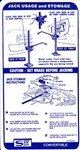 1967 Firebird Trunk Jacking Instructions Decal for Conv with Space Saver Spare
