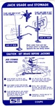 1967 Trunk Jacking Instructions Decal - Coupe with Space Saver Tire
