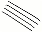 1970 - 1981 Window Felts Set for Cars with Special Wide Trim, No Bead Outers and Flat Inners, 4 Pieces OEM Style