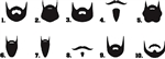 Beard Mustache Waterslide Nail Decals