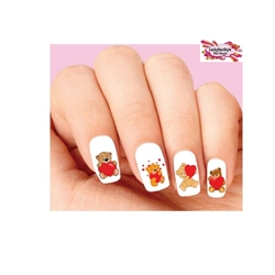 Valentines Teddy Bear with Hearts Assorted Waterslide Nail Decals