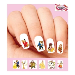 Beauty and the Beast, Belle, Lumiere, Gaston Assorted Waterslide Nail Decals