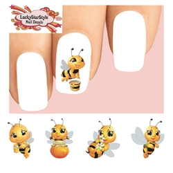 Cute Honey Bees Assorted Waterslide Nail Decals