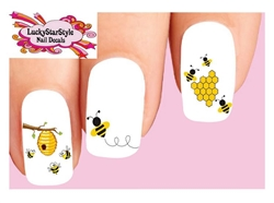 Honey Bees Honeycomb Beehive Assorted Set of 20 Waterslide Nail Decals