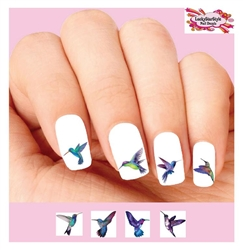 Blue and Purple Hummingbirds Assorted Set of 48 Waterslide Nail Decals