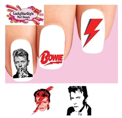 David Bowie Ziggy Stardust Assorted Set of 20 Waterslide Nail Decals