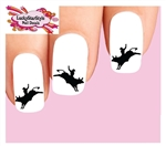 Cowboy Bull Riding Rider Silhouette Waterslide Nail Decals
