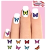 Colorful Butterflies Assorted Set of 48 Waterslide Nail Decals