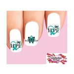 Ovarian Cancer Awareness Teal Ribbon Hope Butterfly Assorted Waterslide Nail Decals