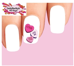 Candy Hearts Waterslide Nail Decals