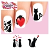 Black Kitty Cat with Hearts Assorted Set of 20 Waterslide Nail Decals
