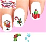 Christmas Holiday, Santa, Candy Cane, Holly, Snowflakes Assorted #1 Waterslide Nail Decals