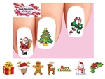 Merry Christmas Holiday Santa, Reindeer, Candy Cane, Snowman, Holly Assorted #2 Waterslide Nail Decals