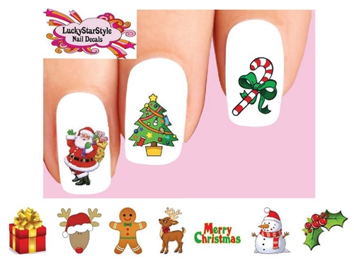 christmas holiday santa reindeer snowman holly assorted 2 waterslide nail decals