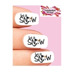 Holiday Christmas Let it Snow Snowman Waterslide Nail Decals