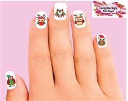 Christmas Holiday Owls Assorted Waterslide Nail Decals