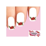 Christmas Holiday Poinsettia with Holly Waterslide Nail Decals