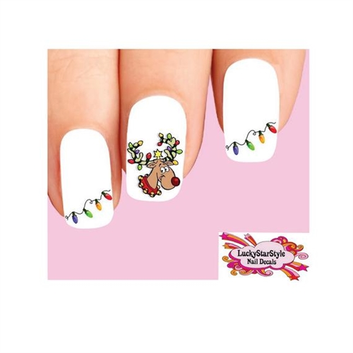 christmas holiday reindeer lights assorted waterslide nail decals