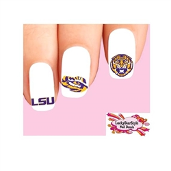Louisiana State University LSU Tigers Assorted Waterslide Nail Decals