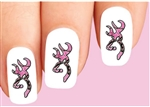 Pink Camo Camouflage Deer Waterslide Nail Decals