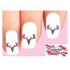 Pink & Green Camo Camouflage Deer Skull Waterslide Nail Decals