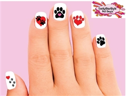 Paws and Hearts Assorted Waterslide Nail Decals
