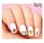 Happy Easter Bunny, Chick & Eggs in Basket Assorted #1 Waterslide Nail Decals