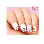 Cute Easter Bunny Faces Assorted Waterslide Nail Decals