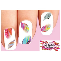 Colorful Rainbow Feathers Assorted Waterslide Nail Decals