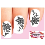 Black Lace Flowers Waterslide Nail Decals
