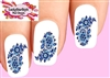Delft Blue Flowers Floral Waterslide Nail Decals