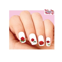 Red Roses Assorted Waterslide Nail Decals