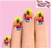 Hawaiian Beach Sunset with Palm Trees Set of 10 Full Waterslide Nail Decals