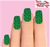 Christmas Holiday Green Cable Knit Sweater Set of 10 Full Waterslide Nail Decals Set of 10 Full Waterslide Nail Decals