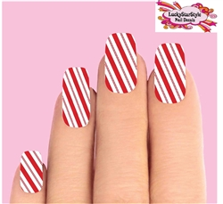 Christmas Holiday Red & Clear Candy Cane Stripes Full Waterslide Nail Decals