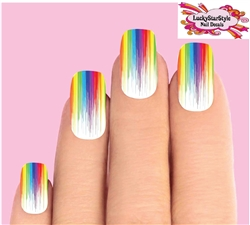 Colorful Rainbow Paint Drip Dripping Waterslide Full Nail Decals